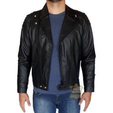 Jaqueta de couro lisa Motociclista