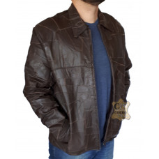 Jaqueta Masculina de Couro Retalhos Costurados