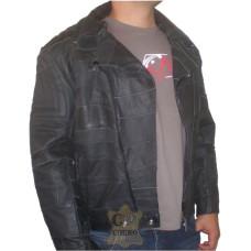 Jaqueta de Couro Motociclista Retalhos Costurados